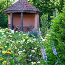 Gazebo and Mediterranean beds
